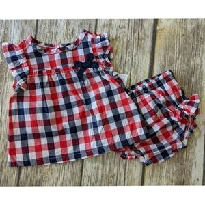 Nwt Carter's Red White Blue Gingham 2 piece set 9m